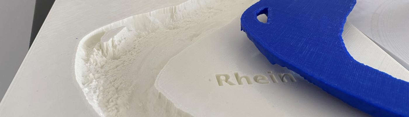 3D-printed model of the River Rhine